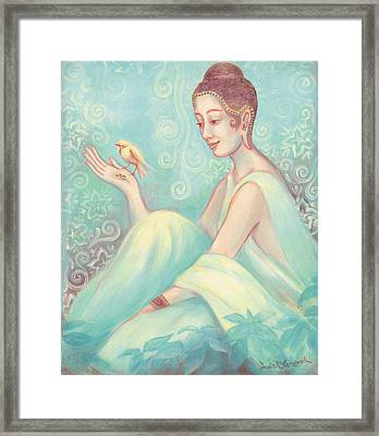 Meditation With Bird Framed Print