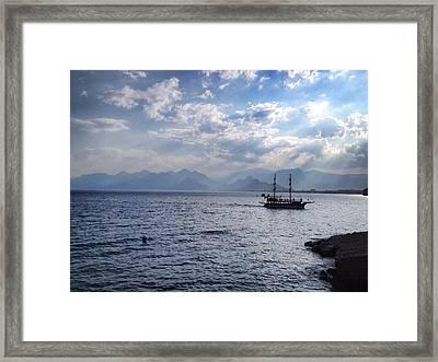 Mediterranean Boat Framed Print by Michael Fitzpatrick