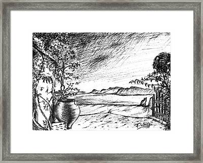 Framed Print featuring the drawing Mediterranean Cat by Teresa White