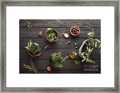 Mediterranean Ingredients Framed Print by Mythja  Photography