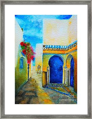 Framed Print featuring the painting Mediterranean Medina by Ana Maria Edulescu