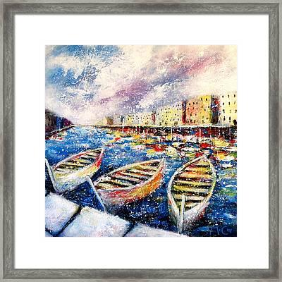 Mediterranean Port Colours Framed Print