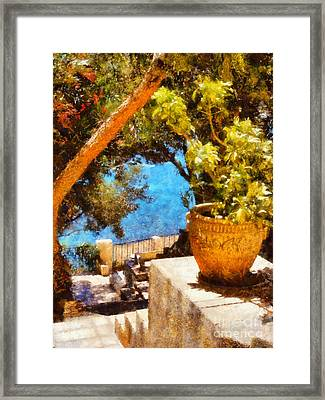 Mediterranean Steps Framed Print by Pixel Chimp