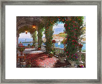 Mediterranean Verander Framed Print by Dominic Davison