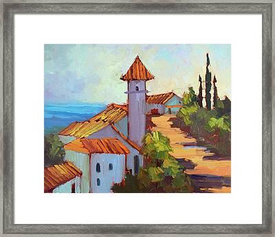 Mediterranean Village Costa Del Sol Framed Print by Diane McClary
