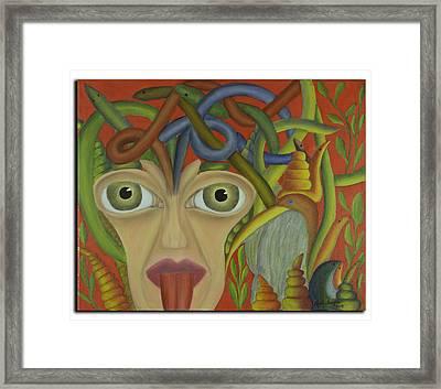 Medusa In Red Framed Print by Coqle Aragrev