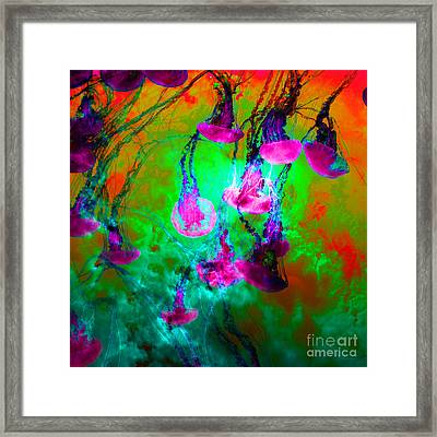 Medusas On Fire 5d24939 Square P128 Framed Print by Wingsdomain Art and Photography
