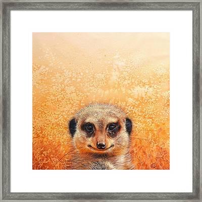 Meerkat's Smile Framed Print by Elena Kolotusha