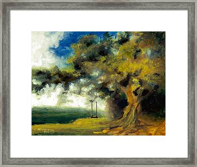 Meet Me At Our Swing Framed Print
