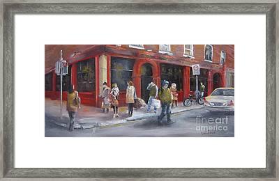 Meet Me At The Corner Bar Framed Print by Leah Wiedemer