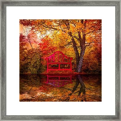 Meet Me At The Pond Framed Print by Debra and Dave Vanderlaan