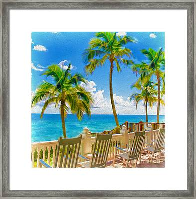 Meet Me On The Porch By The Beach Framed Print by Mary Ann Tardif