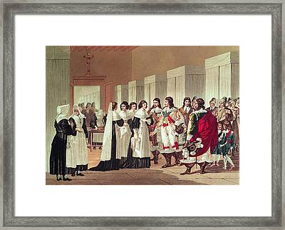 Meeting Between Louis Xiii 1601-43 And Marie-louise Motier De La Fayette 1615-65 At Lhotel-dieu Framed Print by Hippolyte Lecomte