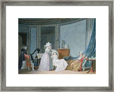 Meeting In A Salon, 1790 Gouache On Paper Framed Print by Jean Baptiste Mallet