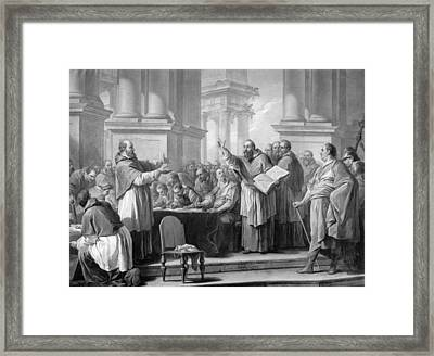 Meeting Of St. Augustine And The Donatists Oil On Canvas Bw Photo Framed Print by Carle van Loo