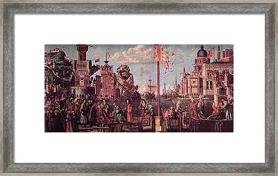 Meeting Of The Betrothed Couple And The Departure Of The   Pilgrims Framed Print by Vittore Carpaccio