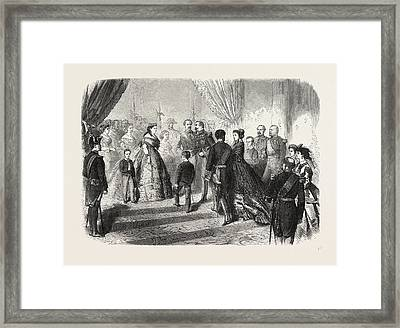 Meeting Of The French And Spanish Royal Families Framed Print by English School
