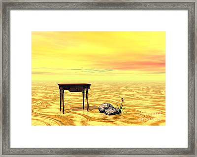 Meeting On Plain - Surrealism Framed Print by Sipo Liimatainen