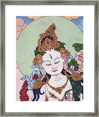 Meeting White Tara Framed Print by Leslie Rinchen-Wongmo