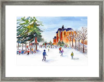 Meewasin Skating Rink Framed Print by Pat Katz