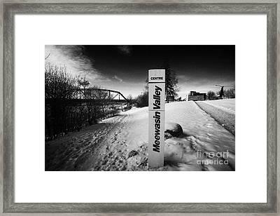 meewasin valley trail centre in the snow along friendship park near the river downtown Saskatoon Sas Framed Print by Joe Fox