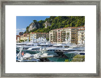 Mega Yachts In Port Of Nice France Framed Print