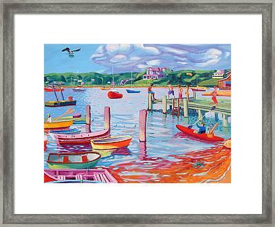 Megansett Dock With Osprey Framed Print by Sean Boyce