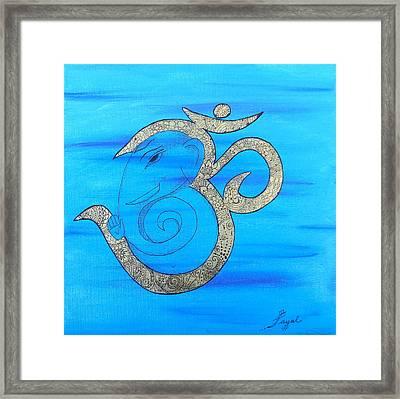 Mehndi Ganesh In Ohm  Framed Print
