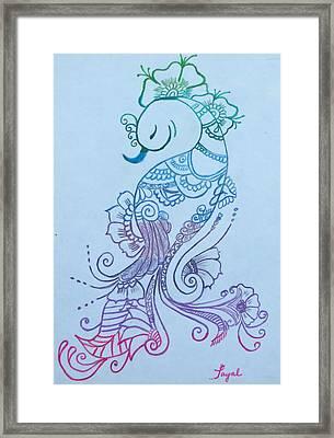 Mehndi Peacock Framed Print