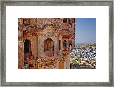 Mehrangarh Fort Towering Above Jodhpur Framed Print by Adam Jones