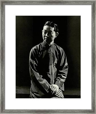 Mei Lanfang Wearing A Chinese Jacket Framed Print