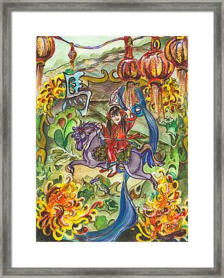 Mei-lien Celebrates Chinese New Year Framed Print by Patty Boban Lipinski