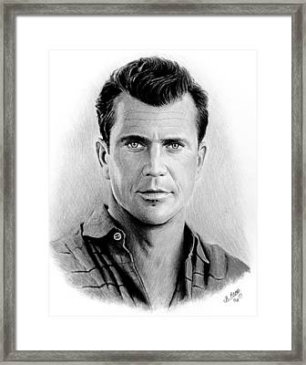 Mel Gibson Bw Framed Print by Andrew Read