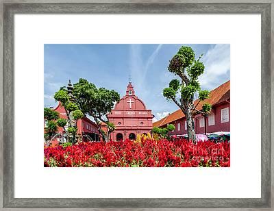 Melaka Red Square Framed Print by Adrian Evans