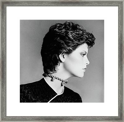 Melanie Cain Wearing A Rope Choker And Hair Framed Print