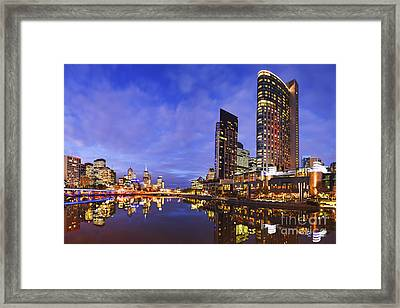 Melbourbe Skyline And Yarra River At Twilight Square Framed Print by Colin and Linda McKie