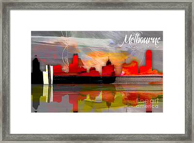 Melbourne Australia Skyline Watercolor Framed Print by Marvin Blaine