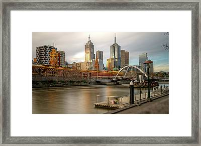 Melbourne City View From Southbank Pier Framed Print by Mariusz Kluzniak