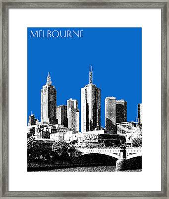 Melbourne Skyline 1 - Blue Framed Print by DB Artist