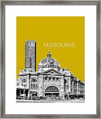 Melbourne Skyline 2 Flinders Street Station - Gold Framed Print by DB Artist