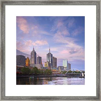 Melbourne Skyline Twilight Square Framed Print by Colin and Linda McKie