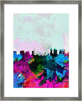 Melbourne Watercolor Skyline Framed Print by Naxart Studio