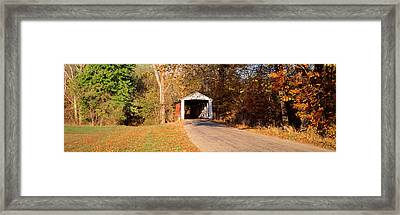 Melcher Covered Bridge Parke Co In Usa Framed Print by Panoramic Images