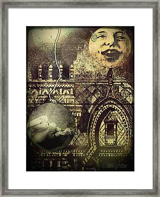 Framed Print featuring the digital art Melies Man In The Moon by Delight Worthyn