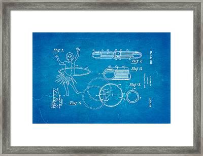 Melin Hula Hoop Patent Art 1963 Blueprint Framed Print by Ian Monk