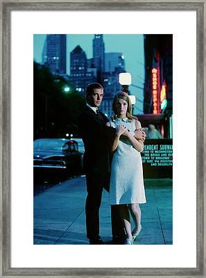 Melinda Moon And David Davis On A Sidewalk Framed Print by Sante Forlano