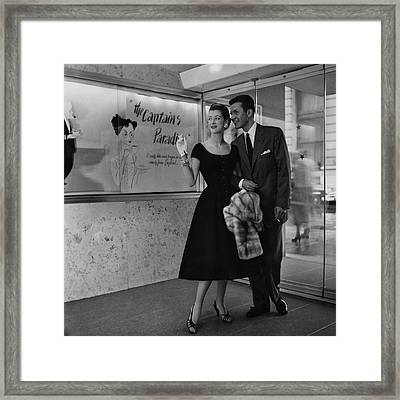 Melissa Weston With A Man At A Movie Theater Framed Print by Karen Radkai