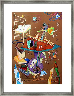 Melodia Del Silenzio - Art Collage - Music Concert For Violoncello Framed Print by Arte Venezia