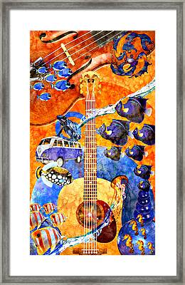 Melodies And Sunset Seas Framed Print by Ally  White