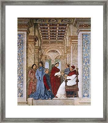 Melozzo Da Forli 1438-1494. Sixtus Iv Framed Print by Everett